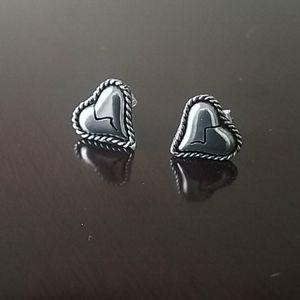 Sterling Silver Broken Hart Stud Earrings Taxco.92